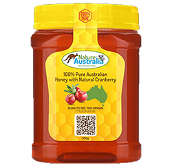 100% NATURAL AUSTRALIAN HONEY WITH CRANBERRY